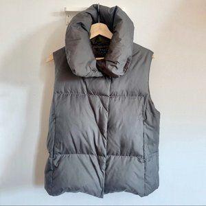 Theory Okema Heavenly down fill cowl neck puffer vest dark gray size M